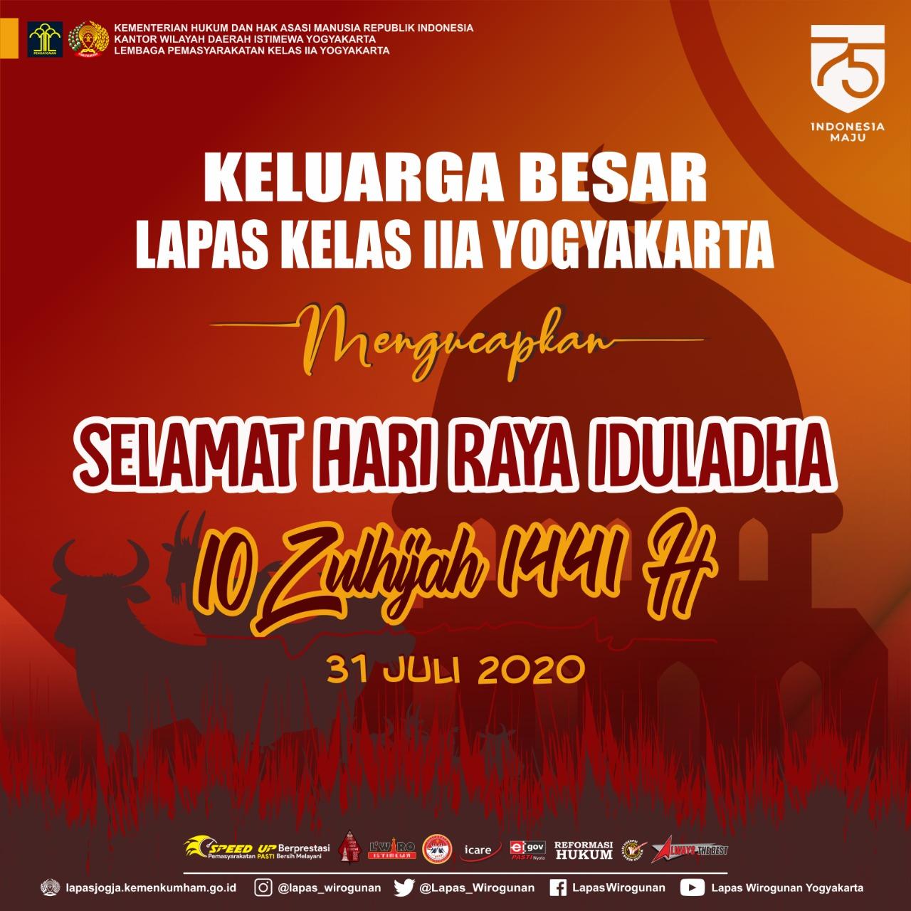 Momen Iduladha, Warga Binaan Lapas Yogyakarta Berkurban Sembilan Ekor Kambing
