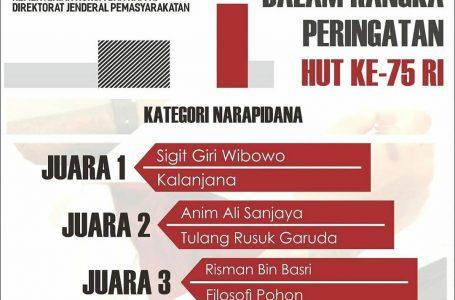 Sigit Giri, Warga Binaan Lapas Yogyakarta Juara 1 Lomba Cerpen Piala Menkumham